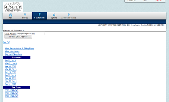 A screenshot on how to access additional services from the E-statements web page.