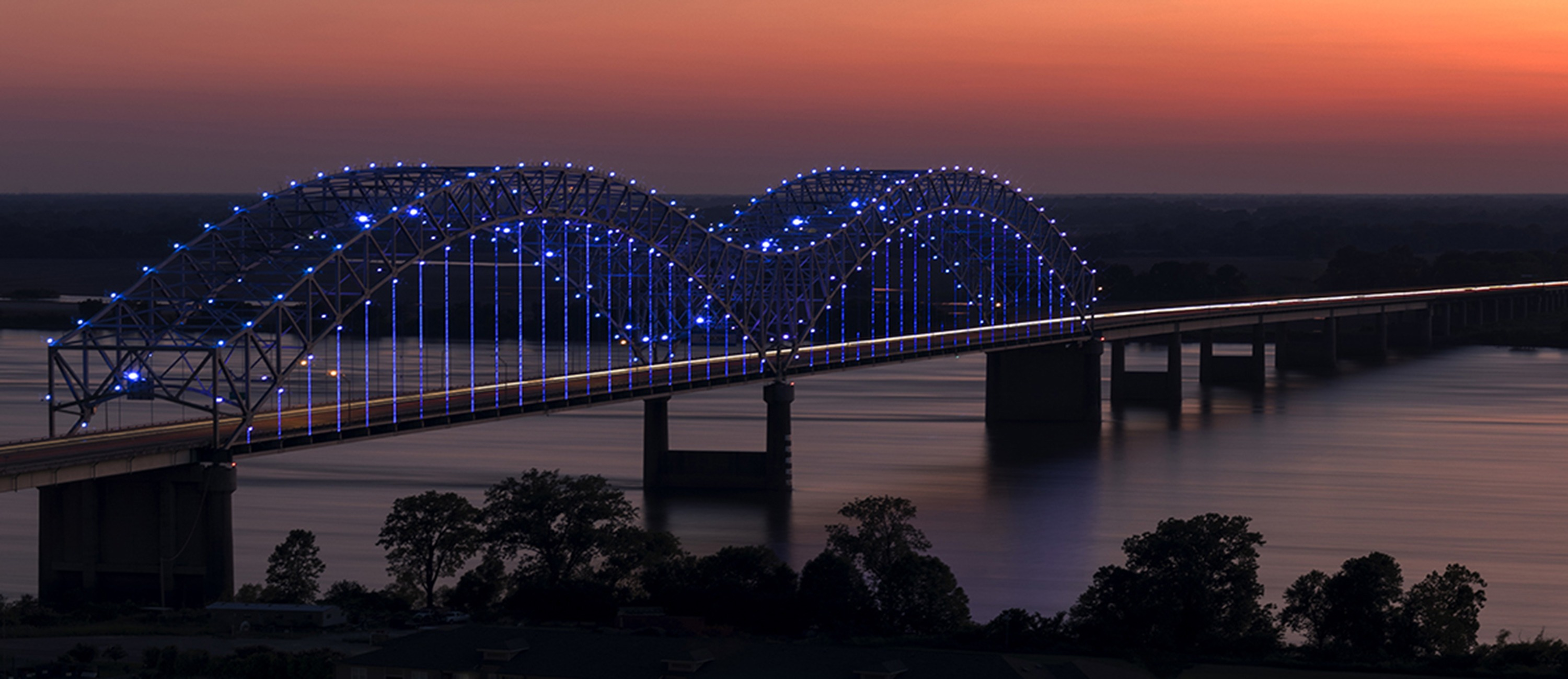 The Memphis bridge during sunset.